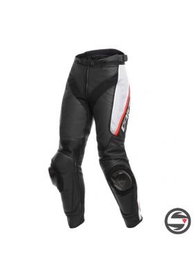 DELTA 3 PERF. LADY LEATHER PANTS 858 BLACK WHITE RED