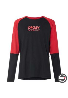 OAKLEY SWITCHBACK LS TRAIL TEE JERSEY BLACK RED