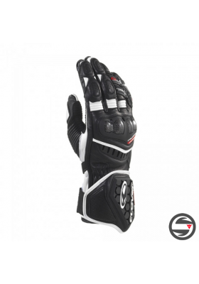 RS-9 LEATHER RACE REPLICA GLOVES BLACK WHITE CLOVER