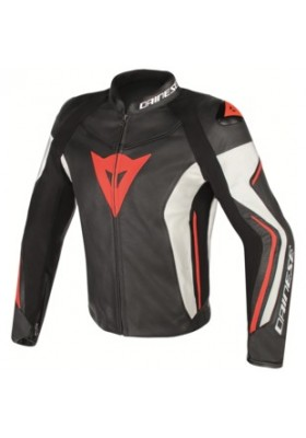 ASSEN LEATHER JACKET N32 BLACK WHITE RED