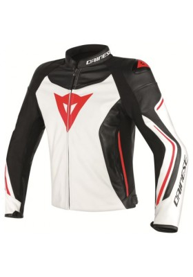 ASSEN LEATHER JACKET WHITE BLACK RED