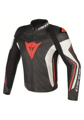 ASSEN PERF. LEATHER JACKET N32 BLACK WHITE RED