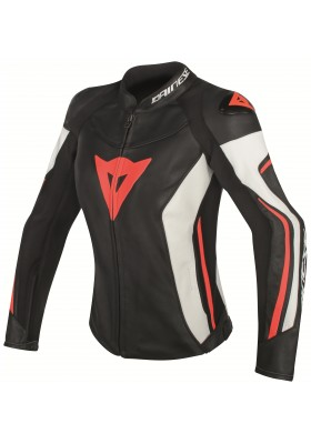 ASSEN LADY LEATHER JACKET N32 BLACK WHITE RED