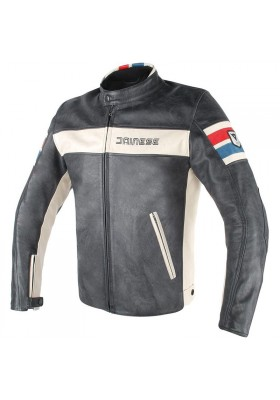 HF D1 LEATHER JACKET Y40 BLACK ICE RED BLUE