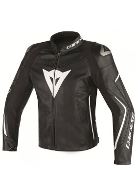 ASSEN PERF. LEATHER JACKET 948 BLACK WHITE