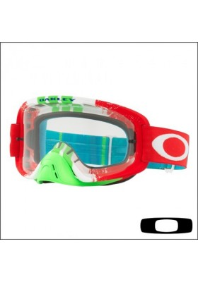 OAKL NEW O2 PINNED RACE RED GREEN CLEAR (7068-29)