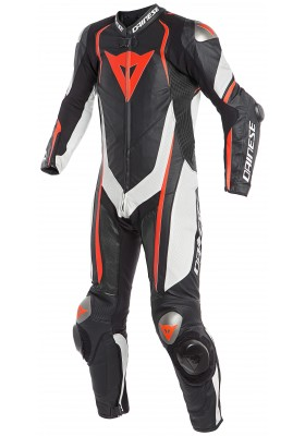 KYALAMI 1 PC PERF. LEATHER SUIT N32 BLACK WHITE FLUO-RED