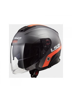 OF521 INFINITY SMART MATT TITANIUM ORANGE JET HELMET
