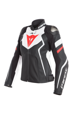 AVRO 4 LADY LEATHER JACKET 23A BLACK WHITE RED