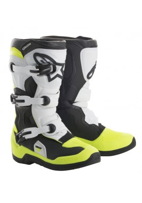 ALPINES. TECH 3S YOUTH (125) WHITE BLACK YELLOW