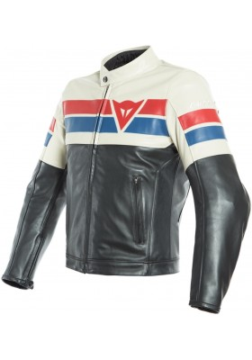 8-TRACK LEATHER JACKET 418 BLACK ICE RED