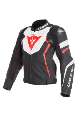 AVRO 4 LEATHER JACKET 23A BLACK WHITE FLUO-RED