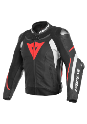 SUPER SPEED 3 LEATHER JACKET N32 BLACK WHITE RED