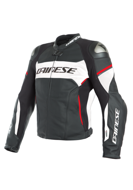 RACING 3 D-AIR LEATHER JACKET A66 BLACK WHITE LAVA-RED