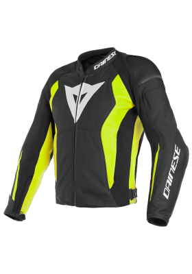 NEXUS LEATHER JACKET N49 BLACK YELLOW FLUO