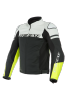 AGILE LEATHER JACKET 95C BLACK-MATT WHITE FLUO-YELLOW