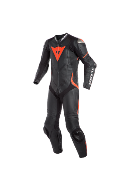LAGUNA SECA 4 1PC PERF. LEATHER SUIT P75 BLACK BLACK FLUO-RED