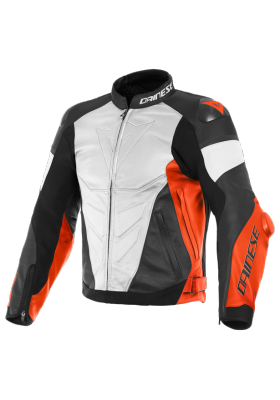 SUPER RACE PERF. LEATHER JACKET 90C WHITE FLUO-RED