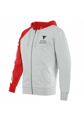 FELPA DAINESE PADDOCK FULL-ZIP HOODIE 81C GRAY LAVA-RED BLACK