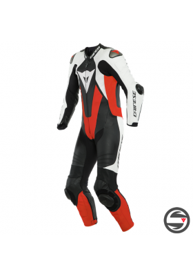 LAGUNA SECA 5 1PC PERF. LEATHER SUIT N32 BLACK WHITE FLUO-RED