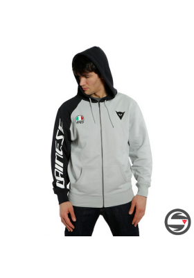 DAINESE RACING SERVICE FULL-ZIP HOODIE 51C GLACIER GRAY BLACK
