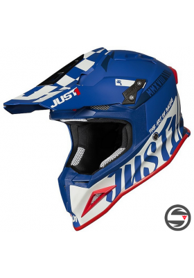 JUST1 HELMET J12 PRO RACER WHITE BLUE MATT