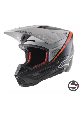 S-M5 RAYON HELMET ECE 1242 BLACK WHITE ORANGE (8304021)